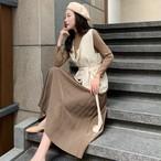 【dress】気質あふれプリーツハーフネックお流行り3点セットワンピース 23897921
