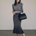【セットアップ】無地ファッションスリットラウンドネックTシャツ+すね丈プリーツスカートニットセットアップ24917708