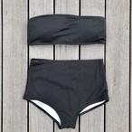 Bikini♡リブバンドゥハイウエストビキニ ブラック