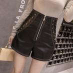 【bottoms】PUハイウエストファッションショートパンツ25539178