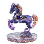 馬型 ラピスラズリ&アメジストオルゴナイト 置物 財運をもたらす馬モチーフ