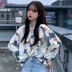 【tops】レトロ長袖POLOネックファッション小柄シャツ