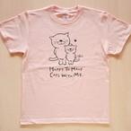 にゃんきーとすTシャツ「ねこがいてよかった」ベビーピンク