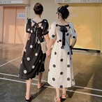 【dress】スウィートドット柄パフスリーブロングワンピース