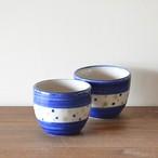 手のひらカップ(コバルトブルーと三色の水玉)