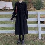 【dress】ロングレトロゆるっと感じ折り襟可愛いワンピース25059484