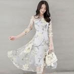 【dress】エレガントラウンドネック中袖透かし彫り不規則プリントワンピース