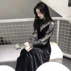 ドレス シフォンスリーブドレス ベルベットドレス S〜XL エレガント ラメ入り パーティー 結婚式 透け感 エレガント 黒ドレス