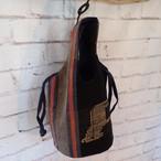 チェンマイ ナガ族刺繍のバケツ型バッグ 黒