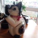 陶器の猫 ポット  ドイツ ヴィンテージ 訳アリ チップ&貫入