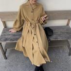 【送料無料】 大人可愛い♡ ウエストマーク付き ロング シャツ ワンピース 羽織り ボリューム袖 Aライン