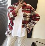 ウールチェックシャツ チェックシャツ 韓国ファッション