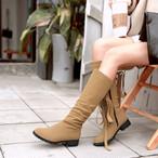 【shoes】全4色ソリッドカラーリボンロングブーツ