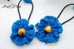 手編み ちっちゃなお花のヘアゴム(水色)