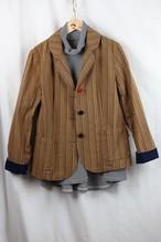 LLサイズのジャケット JK 01 藍染トラ縞柄(K8)