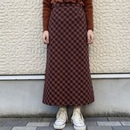 (LOOK) plaid tight long skirt
