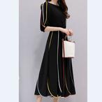 2018 春夏の新作 ワンピース カラフルライン ウェストベルト シフォン ロングスカート丈 ゆったりシルエット