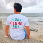 ALOHA RISE Tee - White / Green-Red