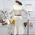 【dress】ニットワンピースシンプルフリル裾マーメイドワンピース