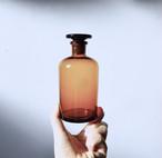 【遮光薬瓶(中)】アンバー くすりびん ラベル柄 昭和レトロ ガラス 細口