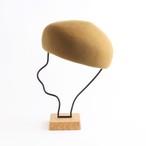 mature ha./Japanese old wooden block beret/mustard