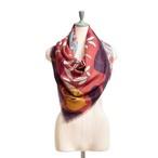 Merino Wool   'Notting Hill' Purple 正方形スカーフ