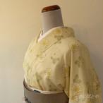 洗える着物 クリーム色に菊の絽の小紋