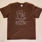 にゃんきーとすTシャツ「ねこがいてよかった」ダークブラウン×ライトグレーSサイズ