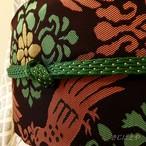 正絹 緑に銀糸の帯締め
