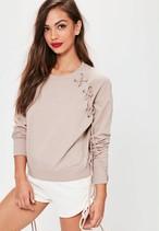 MISSGUIDED Pink Lace Up Eyelet Detail Raglan Sweatshirt 10SE012-17 |インスタでも話題の海外セレブ系レディースファッション Carpe Diem