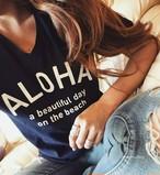 【予約販売 ※7月上旬発送】ALOHA Tee - Navy