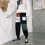 パッチワークカジュアルデザインジョガーパンツ 韓流ファッション