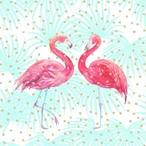 【Paperproducts Design】バラ売り2枚 ランチサイズ ペーパーナプキン FLAMINGO FANTASY ピンク×グリーン