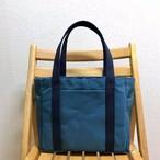 「ポケットトート」中サイズ「ミネラルブルー×ネイビー(紺)」帆布トートバック 倉敷帆布8号
