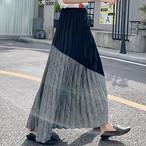 【bottoms】 配色ハイウエストカジュアルスカート27010899