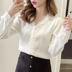 【tops】通勤/OL韓国系合わせやすい長袖切り替えレースホワイトシャツ