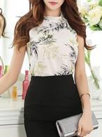 【tops】Fashion sleeveless print chiffon vest