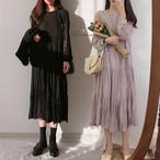 エアリー ワンピース ロング丈 長袖 シアー シワ加工 デート 大人可愛い 3色 ホワイト パープル ピンク レディース ファッション 韓国 オルチャン