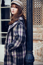 Plaid Wool and Mohair-blend Coat