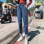 大きいサイズ レディース ロングデニムパンツ ゆったり履ける【カジュアル ストレートパンツ】 N0063008