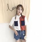 【新作10%off】half color casual shirts 2763