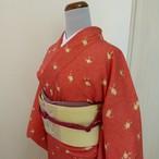 正絹綸子 朱色に梅模様の小紋 袷の着物