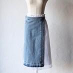 【MUVEIL】デニムサロン付きプリーツスカート-blue