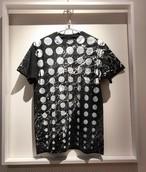 グラデーションドットシブキTシャツ(黒地×白)