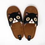 猫スリッパ(ファミネココーデュロイスリッパ)ブラウン