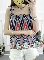 【tops】Stylish design sweet print vest