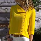 【tops】vネックイレギュラー肌触り良いボタン飾りTシャツ 23119869
