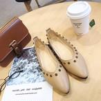 【shoes】フラットシューズレディースリベット履き心地よい