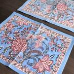Anokhi ブロックプリント テーブルマット ブルーフラワー
