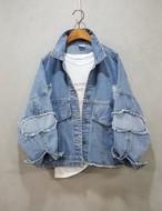 デニムパッチワークジャケット デニムジャケット 韓国ファッション